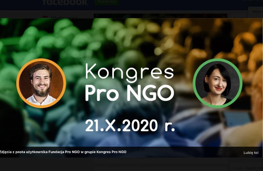 Najbliższe wydarzenia online wEximius Parku. Kongres PRO NGO 21 październik 2020.